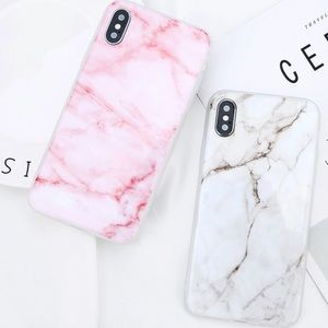 Accessories - IPhone X  Silicone Marble Case Pink or White
